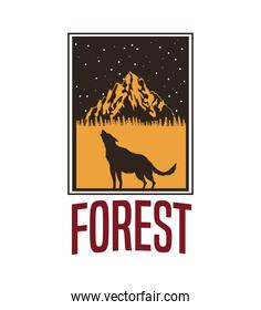 white background with rectangle frame logo forest with wolf silhouette