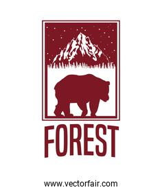 beige color background with rectangle frame logo forest with bear silhouette