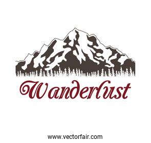 poster of snowy mountains with landscape forest wanderlust