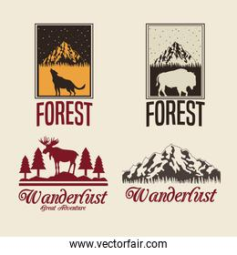 beige color set with rectangle frame logo forest with animals silhouette wanderlust