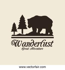 beige color background with logo forest with bear silhouette wanderlust