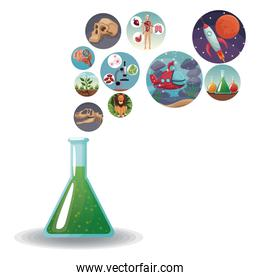 glass beaker formula with icons with picture world evolution in bubbles