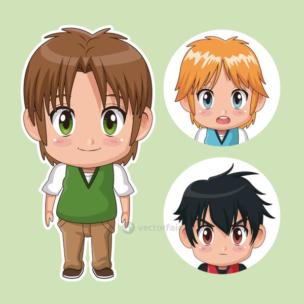 green color set cute anime tennagers with facial expressions