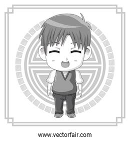 monochrome background with silhouette cute anime tennager facial expression laugther with eyes closed