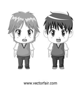 monochrome set silhouette cute anime tennagers facial expression surprise
