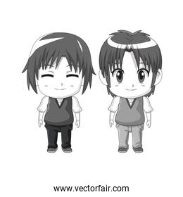 monochrome set silhouette cute anime tennagers facial expression happiness