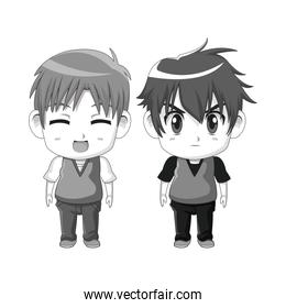 monochrome set silhouette cute anime tennagers facial expression happiness and angry