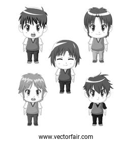 monochrome set silhouette full body cute anime tennagers facial expressions