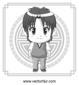 monochrome background japanese symbol with silhouette cute anime tennager expression happiness