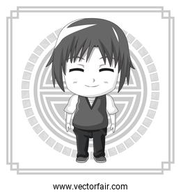 monochrome background japanese symbol with silhouette cute anime tennager facial expression smile with eyes closed