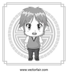 monochrome background japanese symbol with silhouette cute anime tennager facial expression bewildered