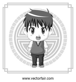 monochrome background japanese symbol with silhouette cute anime teennager expression surprise