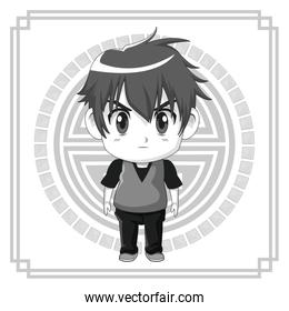 monochrome background japanese symbol with silhouette cute anime tennager facial expression angry