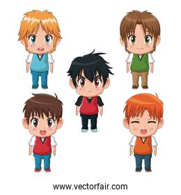 colorful set full body cute anime tennagers facial expression