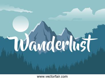 colorful background with night landscape of mountain and forest with text wanderlust