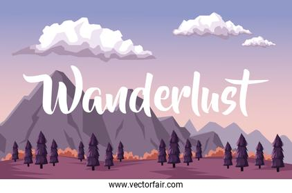 colorful background with dawn landscape of mountain and valley of trees with text wanderlust