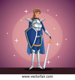 warrior princess in costume party in spotlight background with bright