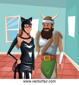 house interior background with half body cat woman and viking man costume