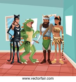house interior background with full body group people male and female in costume halloween