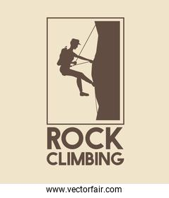 poster logo silhouette man mountain descent with harness rock climbing