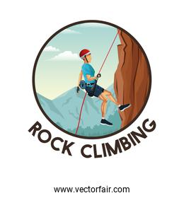 color circular frame with scene landscape man mountain descent with equipment rock climbing