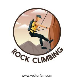 color circular frame with scene landscape man mountain descent with harness rock climbing