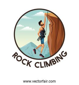 color circular frame with scene landscape man hanging on the cliff rock climbing
