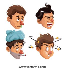 white background set faces sick people