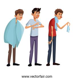 white background set full body standing various sickness symptoms people male