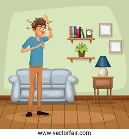 background living room home with dizziness and vomiting sickness people