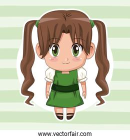 green striped color background with circular frame and cute anime girl with long pigtails hairstyle