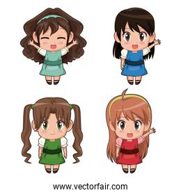 colorful set full body cute anime tennagers girls facial expression