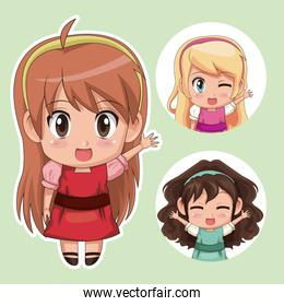 green color set cute anime tennagers girl in dress with several facial expressions