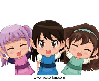 colorful set three half body cute anime tennagers girls facial expression
