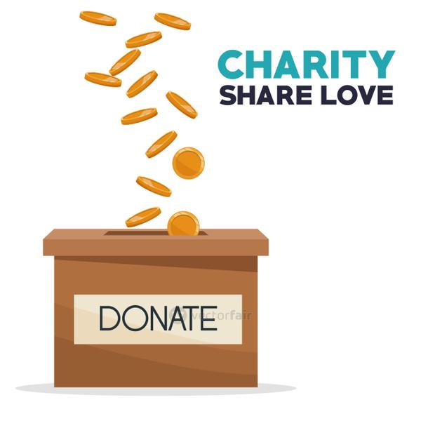 coins depositing in a carton box charity share love
