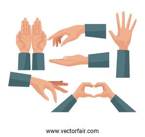 colorful set hands charity share love symbols