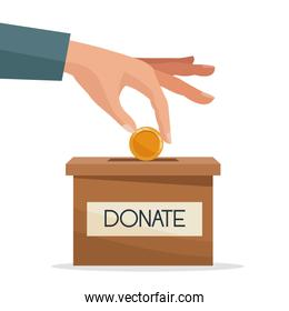 hand depositing coins in a carton box with banner of text donate