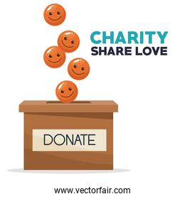 coins in form of happy face depositing in a carton box charity share love