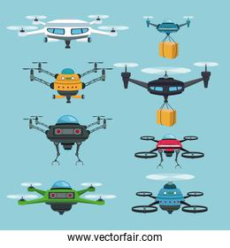 sky landscape background set quadrocopters and drones