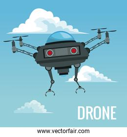 sky landscape background robot drone with metal arms