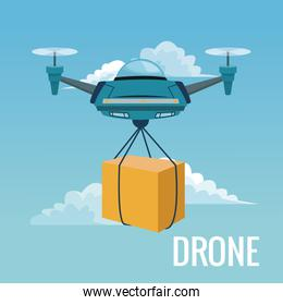sky landscape background robot drone carrying box with pair of airscrew