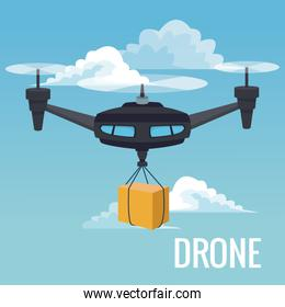sky landscape background robot drone carrying box with three airscrew
