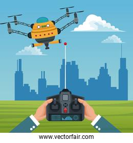 sky landscape with buildings scene and people handle remote control with big robot drone with four airscrew and pair of telescope