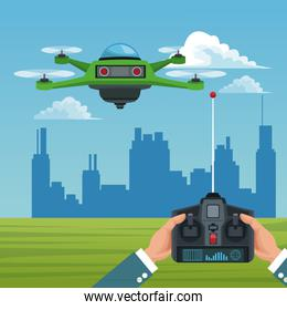 sky landscape with buildings scene and people handle remote control with green robot drone with four airscrew