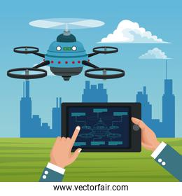 sky landscape with buildings scene and people handle remote control in tablet with blue robot drone with five airscrew
