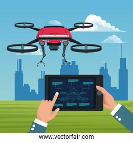 sky landscape with buildings scene and people handle remote control in tablet with red robot drone with metal arms and four airscrew