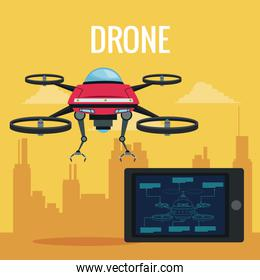 yellow scene city landscape remote control tablet and red robot drone with metal arms and four airscrew