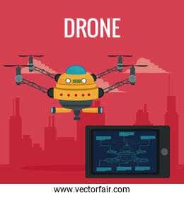 red scene city landscape remote control tablet and big yellow robot drone with four airscrew and pair of telescope