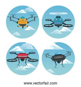set circular frame with sky landscape scene and robot drone with airscrew