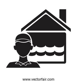 black silhouette plumber with flooded house icon